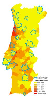 Figura 12 – Áreas Metropolitanas e Capitais de Distrito vs Quota de Utilização de Bicicleta