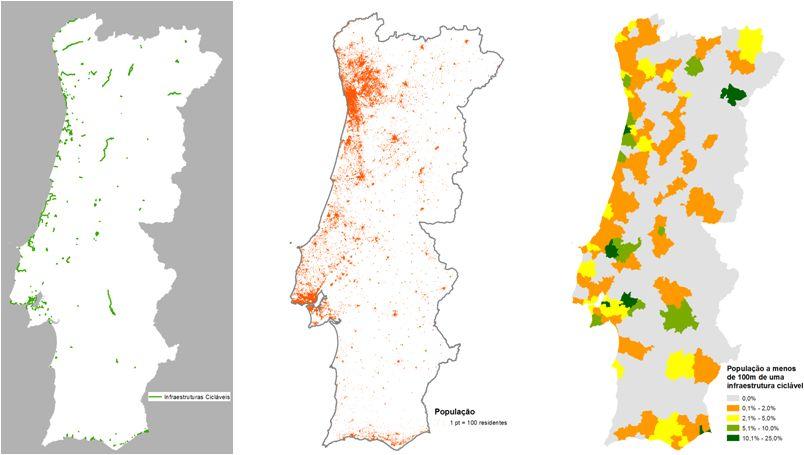 Figura 14 – Distribuição das Infraestruturas Cicláveis e proporção da população residente a menos de 100 metros de uma infraestrutura ciclável (fonte: produção própria a partir de www.ciclovia.pt, Open Street Map e INE)